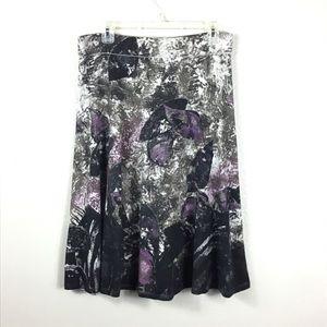 Nic +Zoe Abstract Midi Skirt Sz L